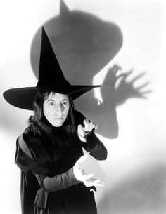 """Margaret Hamilton as the Wicked Witch of the West, early pre-production costume test for """"The Wizard of Oz"""", 1939."""