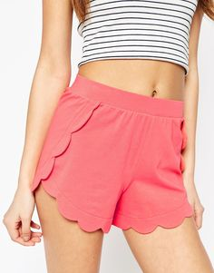 Image 3 of ASOS Scallop Hem Jersey Shorts