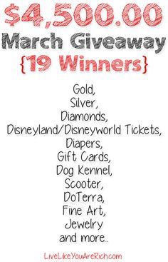 #Win in this giant $4,500.00 Giveaway!  Trip to Disney!  Dog Kennel, K9 Scooter, Jewelry, Restaurant GC, Essential Oils, etc.  Ends 3/31