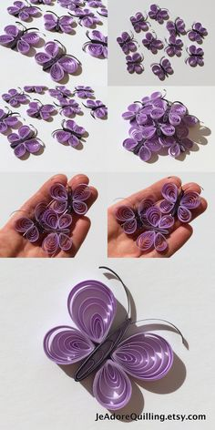Butterflies Purple Lavender Lilac Orchid Table Confetti Dinner Ornaments Baby Bridal Shower Party Decor Gift Filler Party Paper Quilling Art