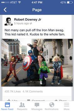 RDJ shares family's Avengers photo