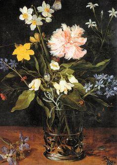 Jan Brueghel the Elder (1568–1625) - Flowers in a glass vase