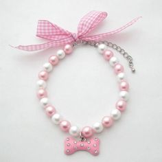 PetFavorites(TM) Couture Designer Fancy Diamond Pet Cat Dog Necklace Jewelry with Bling Pearls Rhinestones Bone Charm for Pets Cats Small Dogs Female Puppy Chihuahua Yorkie Girl Costume Outfits, Pink and White, Adjustable and Handmade (Pink, Neck Size: Yorkie Clothes, Pet Clothes, Dog Necklace, Pearl Necklace, Dog Jewelry, Pet Fashion, Dog Dresses, Cat Collars, Dog Accessories