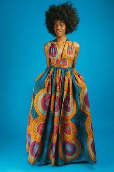 African print infinity dress -Can be worn more than 6 different ways -2 side pockets -Made with 100% cotton high quality African print wax fabric -fully lined -back zipper THIS ITEM WILL BE SHIPPED OUT IS 2-3 WEEKS FROM ORDER PLACING AND YOUR TRACKING NUMBER WILL BE SENT TO YOU