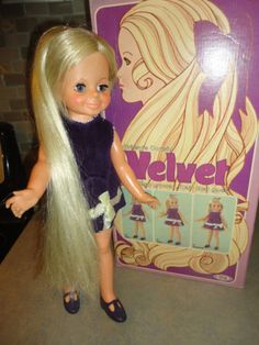 Velvet Doll, LOVED HER! I vividly recall sneaking downstairs EARLY Christmas morning with my brother and spying this box wrapped in white tissue paper.  High excitement!