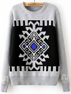 Grey Long Sleeve Geometric Pattern Vintage Sweater