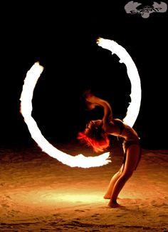 Fire Poi Dancer
