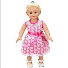 A personal favorite from my Etsy shop https://www.etsy.com/listing/502135523/18-inch-doll-size-dress-pink-white-party