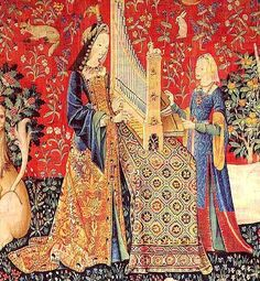 "gorgeous gown & surcote - also tablecloth, musical instrument of some kind? from the unicorn tapestries (""hearing"")"
