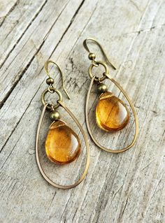 Amber Earrings, Czech Glass Yellow Teardrops with Hammered Antiqued Brass Hoops