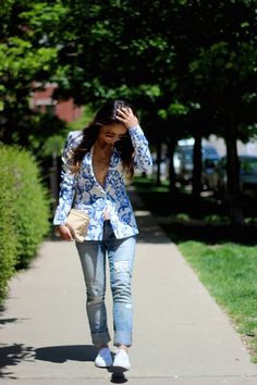 porcelain print blazer