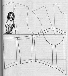 pattern making - corset style top - I like seeing the corset pattern in relation to a dress pattern; it helps me figure out how to add shoulders if I want to construct one for back support. Lingerie Patterns, Sewing Lingerie, Dress Sewing Patterns, Clothing Patterns, Motif Corset, Corset Pattern, Techniques Couture, Sewing Techniques, Pattern Cutting