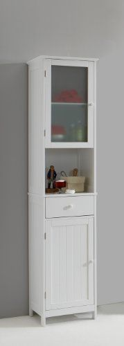 Stockholm Tall Tallboy White Bathroom Cabinet with Glass Door by DMF: Amazon.co.uk: Kitchen & Home