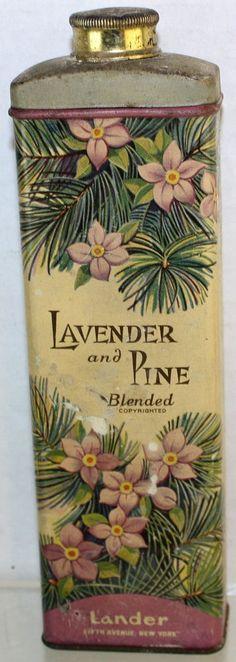 Vintage Lander Lavender And Pine Blended New York Talcum Powder Tin Baby Powder