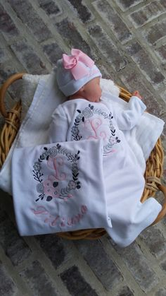 Going Home Outfit Baby Boy Newborn Gown Baby Girl Personalized Onsie Grey Damask Baby Girl Gown /& Hat Monogrammed Gown Personalized