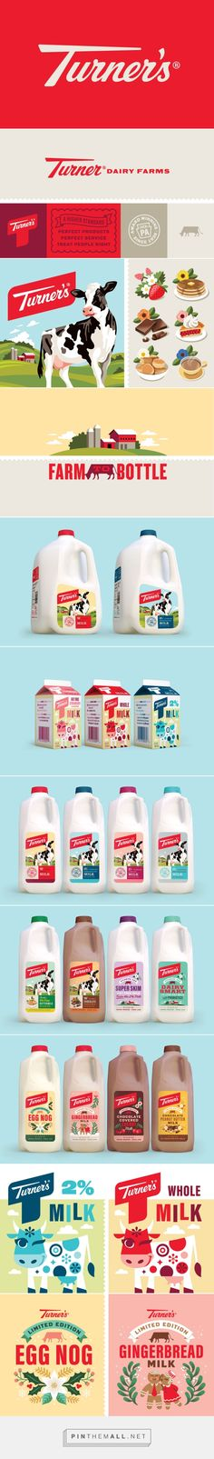 Turner's Dairy packaging design by Emrich Office - http://www.packagingoftheworld.com/2017/02/turners-dairy.html