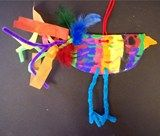 fun funky slab bird...this is a fourth grade example...would probably try with 2nd....using pipe cleaners, feathers, and ribbons for tail details.