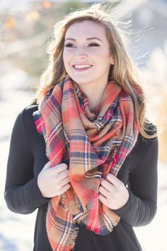 Perfect For Fall Oversized Plaid Blanket Scarf (Orange)