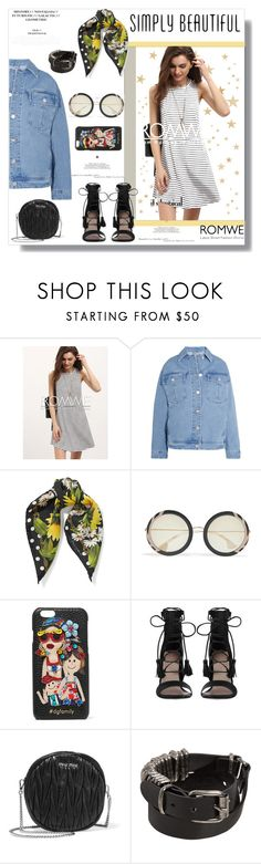 """ROMWE casual dress"" by harleybabe17 ❤ liked on Polyvore featuring Topshop Unique, Dolce&Gabbana, Alice + Olivia, Zimmermann, Miu Miu and Ann Demeulemeester"