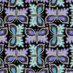 Gypsy - Decorative Butterfly Contemporary - Black Animal Decor, Black Quilt, Fabric Online, Surface Pattern, All Design, Art Journaling, Fabric Design, Butterflies, Gypsy