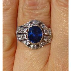 Art Deco Platinum, diamond and sapphire ring Engagment ring HUGE 1.50... ($2,995) ❤ liked on Polyvore featuring jewelry and rings