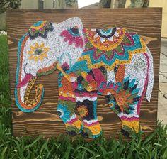 Large Elephant String Art, Decorative Home Decor- order from KiwiStrings on Etsy! www.kiwistrings.etsy.com