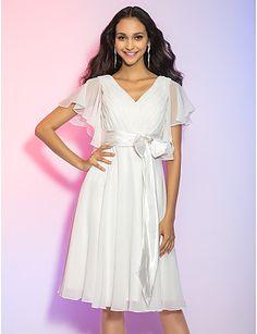 A-line/Princess V-neck Knee-length Chiffon Cocktail Dress – USD $ 99.99