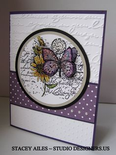 Stampin Up, Garden Collage, butterflies,Pretty Print embossing folder