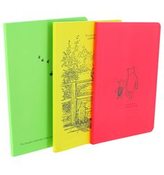 Winnie The Pooh Set Of Three Journals This cheerful set of three notebooks will make a fantastic addition to any Winnie The Pooh fans stationery collection! Each comes with a different design (on both the front and back covers) and featur http://www.MightGet.com/may-2017-1/winnie-the-pooh-set-of-three-journals.asp