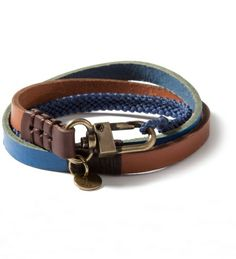 Caputo & Co Blue Triple Wrap Leather/Waxed Cord Bracelet. Nice bracelet