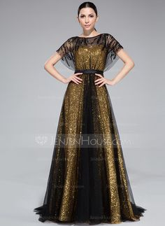 A-Line/Princess Scoop Neck Sweep Train Tulle Charmeuse Sequined Evening Dress With Ruffle Beading (018046262)