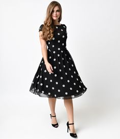 1950s Black Snowflake Bernadette Swing Dress
