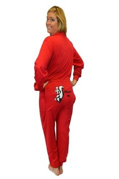 5a2516bb2d Red Union Suit Onesie Pajamas with Funny Butt Flap  Wasn t Me  Skunk