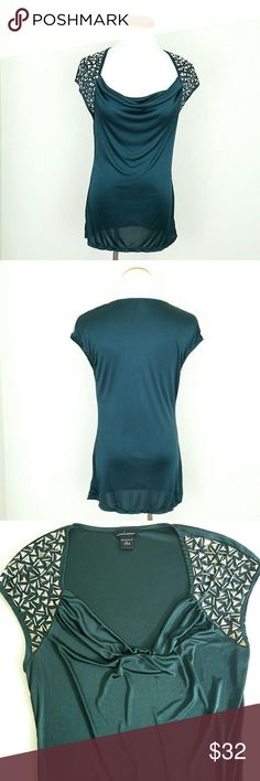 VS Studded Shoulder Cap Sleeve Top VS (Moda Intl) Studded Shoulder Cap Sleeve Top. Draped neckline. Thin silky material. No missing studs. EUC.   No Trade or PP  Bundle discounts  Offers Considered Victoria's Secret Tops Tees - Short Sleeve