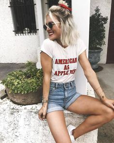 $38 American As Apple Pie Tee Teamed With Highwaisted Jeans
