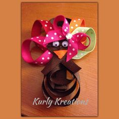 Adorable Turkey Hair Clip by MyKurlyKreations on Etsy