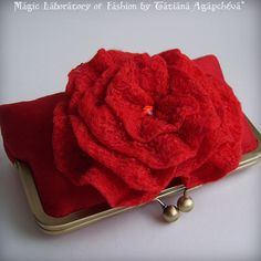 Clutch with red flower