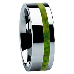 8 Mm Unique Titanium Wedding Bands With Green Box Elder Wood