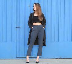 Zara Jacket, Bershka Crop Top, Zara Pants, Zara Heels