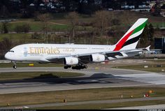 Airbus A380-861, Emirates, A6-EDQ, cn 080, first flight 18.4.2011, Emirates delivered 28.10.2011. His last flight 21.4.2016 Paris - Dubai. Foto: Zurich, Switzerland, February 2016.