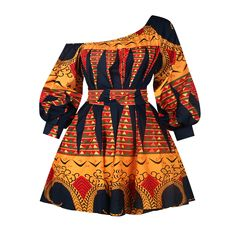 2019 New Fashion African Dresses for Women Summer Tilting Shoulder Two