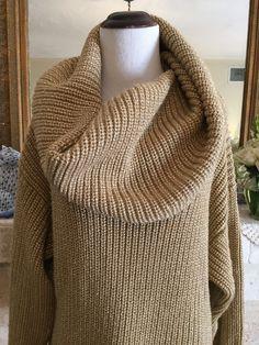 Vintage 1980s DNKY Donna Karan NY OVERSIZE Gold Metallic Knit Cardigan Sweater #DKNY #CowlNeck #Versatile #vintage #oversize #sweater #metallic #gold #womens #donnakaren
