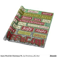 Santa Word Art Christmas WRAPPING PAPER