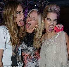 Goofy: Cara Delevingne and Rita Ora made silly faces with Ellie Goulding, middle, for a funny picture