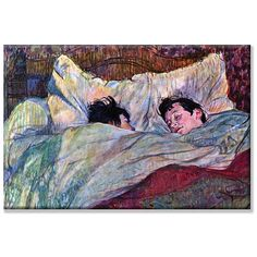 The post-impressionistic style of Toulouse-Lautrec is displayed in this beautiful art piece. This canvas art print depicts two people sleeping on a comfortable bed. Artist: Toulouse-Lautrec Title: Sle
