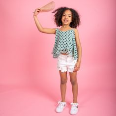 It's warm in here. Summer holiday is here. Cute hole white denim shorts with the polka dot top in mint and studded white trainers. White Denim Shorts, Creative Kids, Stylish Dresses, Jeggings, Cool T Shirts, Trainers, Polka Dot, Girl Outfits, Mint
