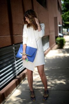 White dress, bright colors, summer fashion, Courtney Kerr, accessories