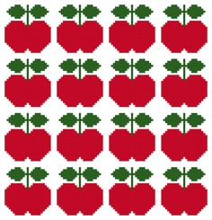 Cross Stitch Pattern, 'Scandi Apple' PDF.    Inspired by the apple designs found on Scandinavian vintage fabric and wallpaper of the 1960s and 70s,