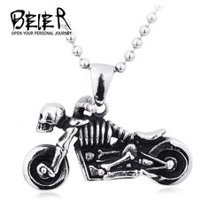 Beier New Fashion 316L Stainless Steel Vintage Skull Motorcycle Necklace Pendant For Boy Girl BP8-131 #Affiliate