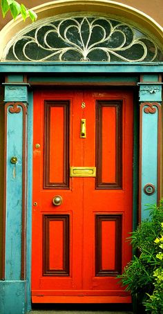 Colourful door in Harcourt Terrace, Dublin  by Steve-h